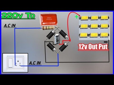 Convert 220v To 12v Dc Power Supply Use 225j Capasitor Connect