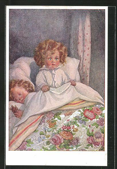 Künstler-AK M. Munk Nr. 869: ängstliches Kind im Bett 0