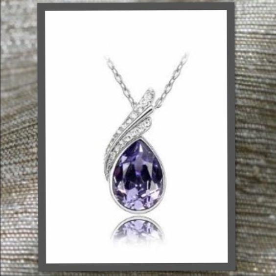 Amethyst water drop necklace Silver tone amethyst purple Austrian crystal water drop necklace. Jewelry Necklaces