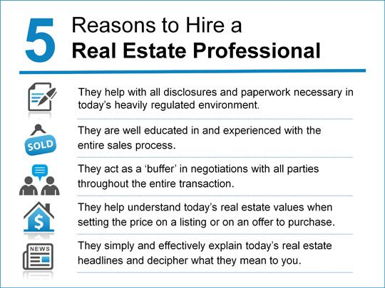 Thinking of selling your home?  Here are 5 reasons to hire a Real Estate Professional to accomplish your goal.