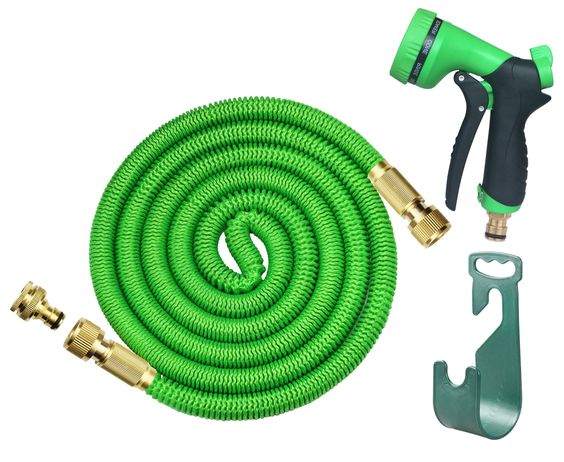 There is No Twists, No Tangles or Kinks whilst using this product. Its Super Flexible, Lightweight & Easy to Store! The Garden Hose   FREE SOLID NOZZLE FUNCTION & BUNDLED EXTRAS- Comes with 8 various functions for different types of Spray and level for automatic spray. A hanger to allow for dry/easy storage after use. All professionally packaged together in a cloth bag and delivered to you with Full instructions Included  SOLID BRASS CONNECTORS WITH SHUT OFF VAVLE