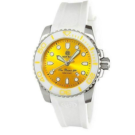 Deep Blue Lady Blue Sea Ramic 500 Yellow Dial Silicone Ladies Watch