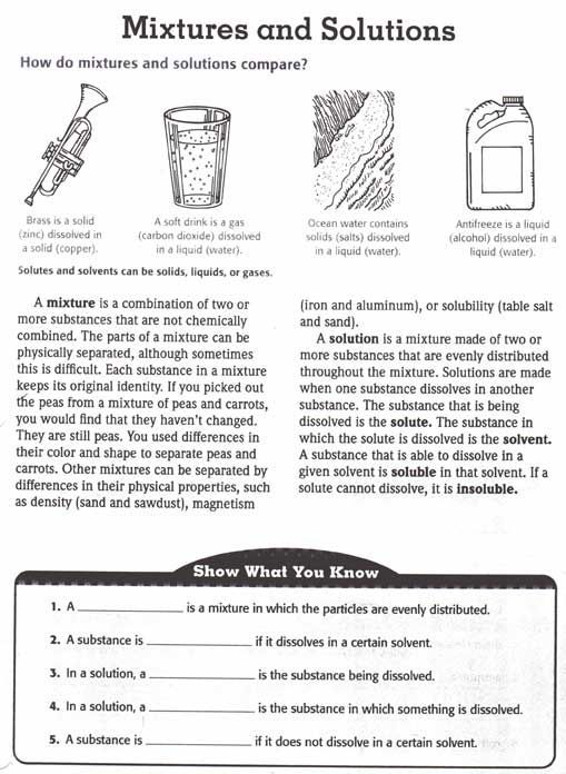 Solutions And Mixtures Worksheets Science Worksheets Matter