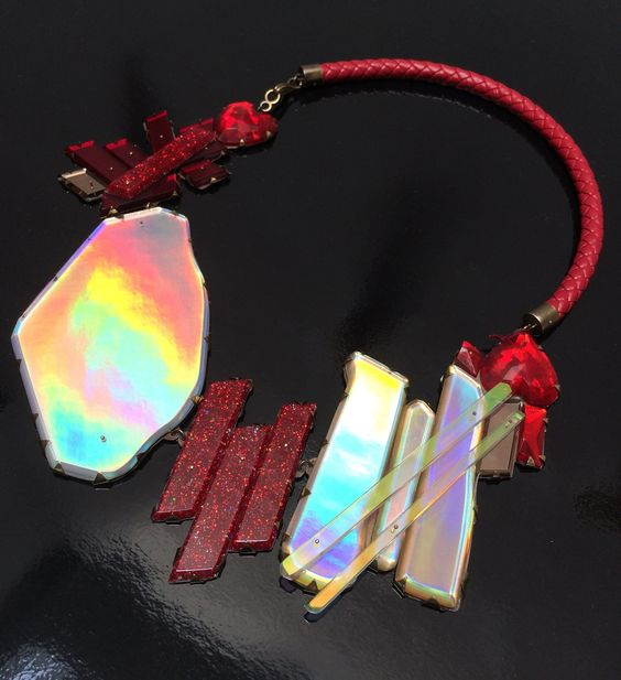 Nikki Couppee Hologem Necklace with Red Leather: