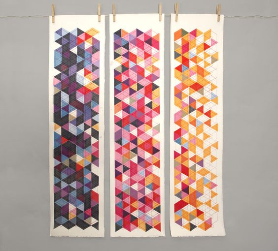 Geometric Serigraphs by Breyna Fries, via Behance.  I'd like to try this, it looks deceptively simple.  But I'd make it as one solid quilt in my own colors.