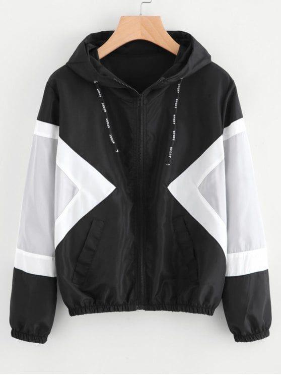 New Ladies Contrast Colour Block Windbreaker Long Sleeve Hooded Jacket Coat Top