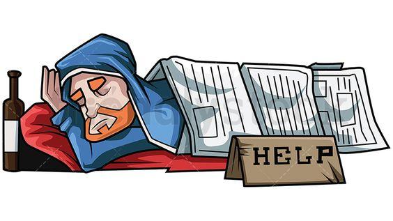 Homeless Man Sleeps Under Newspapers Vector Cartoon Clipart Friendlystock In 2021 Cartoon Clip Art Homeless Man Vintage Cartoon