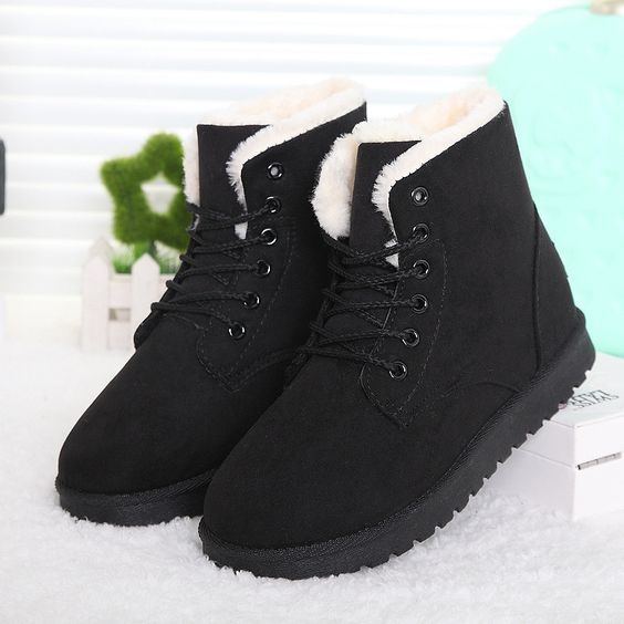 Brand Shoes Women Boots Flat Heels Winter Boots Botas Mujer Ankle Fur Boots Warm Shoes Black R01-in Women's Boots from Shoes on Aliexpress.com | Alibaba Group