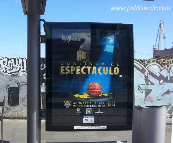Trabajo de rotulación de mupis en metropolitano para C.B. Canarias. Contacta con nosotros en el 922 646 824 o vía email a comercial@publiservic.com  #Publiservic #mupis #rotulacion