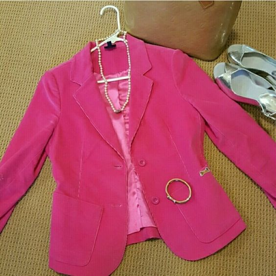 SALE  Le Tigre Vintage Jacket/Blazer Hot Hot Hot  Pink Vintage Blazer by the retired designer  designer LE TIGRE.  Perfect Condition. Size marked as small petite.. As hot pink (more the bold red pink not bubblegum  pink ) as hot pink comes. So sharp looking with jeans or gray pants!! 3% Spandex for stretch! Smooth cotton , very soft corduroy, satin lined. Jackets & Coats Blazers