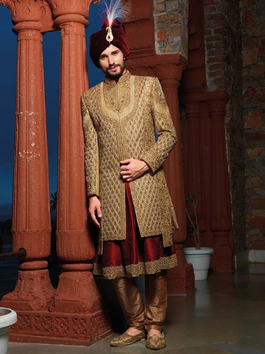 Designer Beige Maroon Silk Groom Sherwani Latest Designer Men