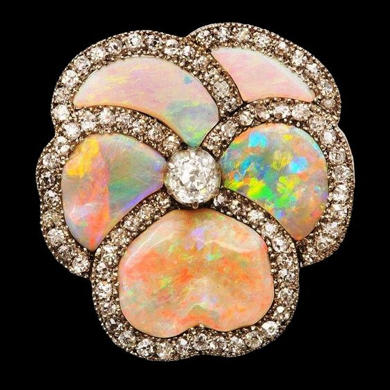 Diamond-set opal brooch, ca.1925.