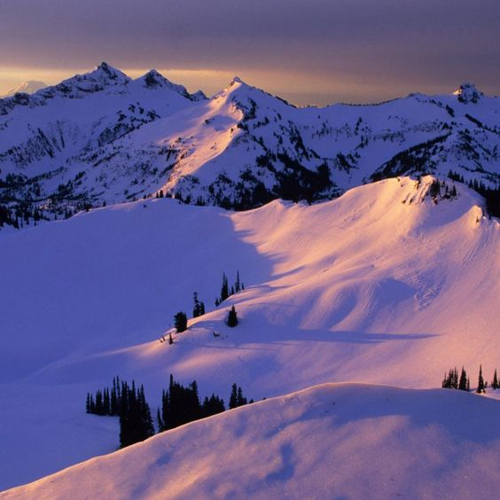 Snowy mountains and Sunsets on Pinterest