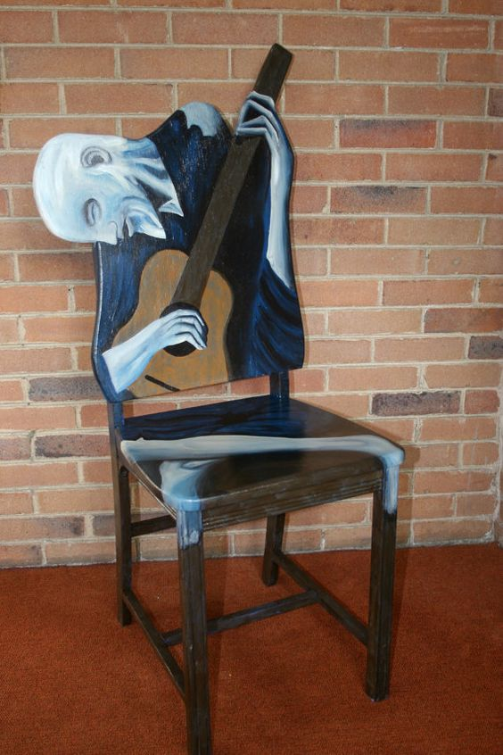 Picasso The Old Guitarist upscaled chair painted by Artist Todd Fendos