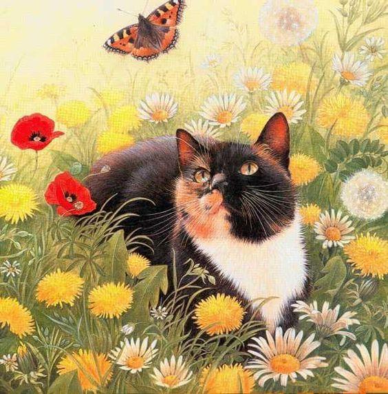 spring artwork | Painting of spring cat. Spring cat: