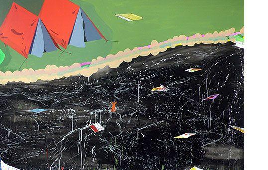Miki Leal SUMMER VACATION  Acuarela y acrílico s/ papel 2008  150 x 210 cm .  He elegido esta obra porque me parece interesante la crítica que hace de las vacaciones.