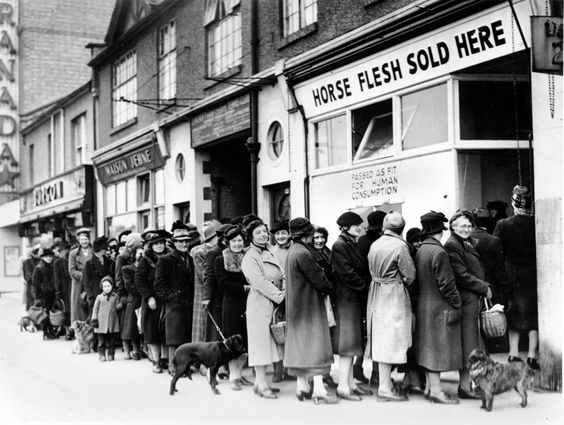 Women line up outside a butcher shop to buy scarce meat in North Cheam, Surrey, England, on April 17, 1942. - [3000x2262]