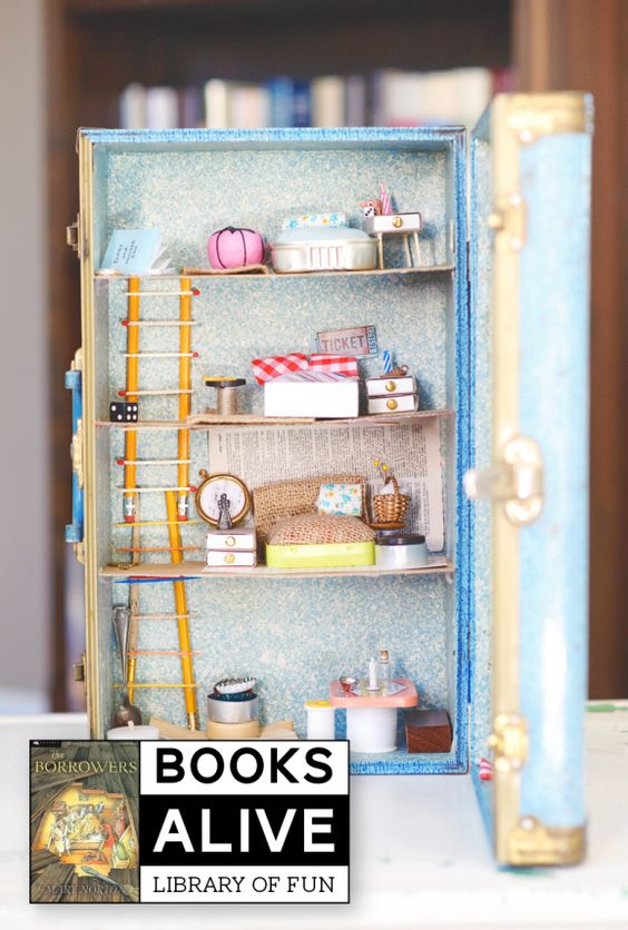"""Love this """"Borrowers"""" House made from a Vintage suitcase and based on the #childrensbook I remember loving as a kid via @PagingSupermom"""