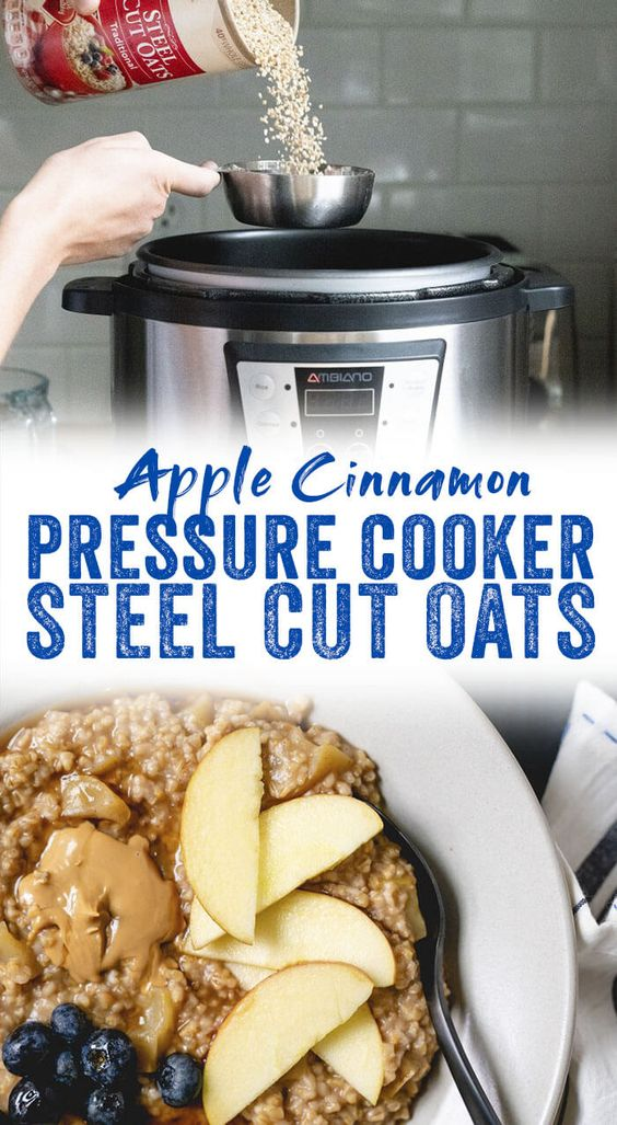 Pressure cooker steel cut oats cook up in minutes and make for healthy breakfasts all week! This apple cinnamon oatmeal is a cozy pressure cooker breakfast. #breakfast #healthy