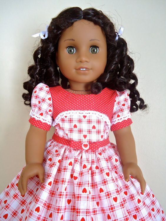 "Valentine's Day ""Checkered Hearts"" Crinoline era, mid-1800's dress for Marie-Grace, Cecile & Addy"