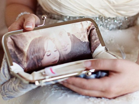Photo lined clutch: Wedding Idea, Personalized Clutch, Engagement Photo, Wedding Gift, Bridal Clutch, Bridesmaid Gift