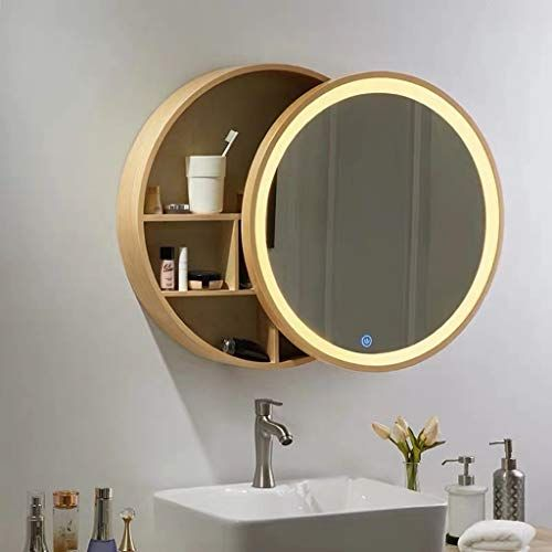 Ygo Led Mirror Cabinet With Touch Switch Round Wooden Wall Mirror Modern Decorative 3 Layer Shelves Vanity M In 2020 Led Mirror Mirror Cabinets Bathroom Mirror Cabinet