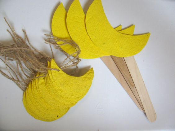 Custom Wedding Favor - Yellow Moon Shaped Plantable Gift Tags and Matching Plantable Centerpiece Stakes by Davita, $20.75 www.davita.etsy.com <3
