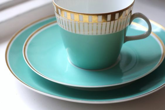 Vintage Blue Teal Turquoise German Tea Cup Set. €25,00, via Etsy.