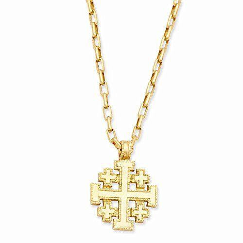 Gold-tone Jerusalem Cross 18in Necklace