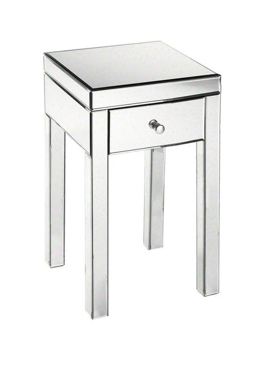 This mirrored glass side table works well in a bedroom or bathroom #hgtvmagazine http://www.hgtv.com/decorating-basics/the-huge-high-low-blowout/pictures/page-30.html?soc=pinterest