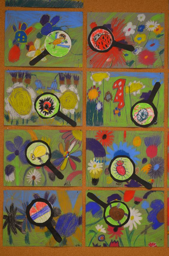 Teken een weide vol bloemen. 1 insect wordt 'vergroot' met een vergrootglas. Super leuk effect!