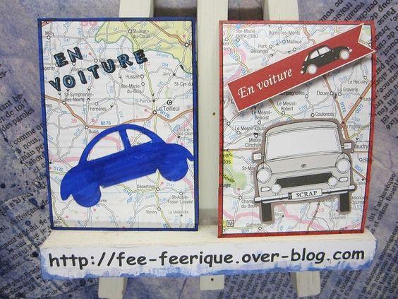 Thème Voyage - Carte routière en fond de carte et et découpe de voiture.