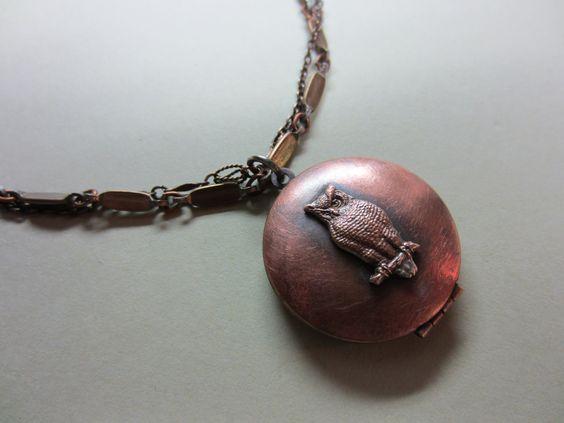 Vintage Owl Medallion Locket Double Strand Necklace. $68.00, via Etsy.