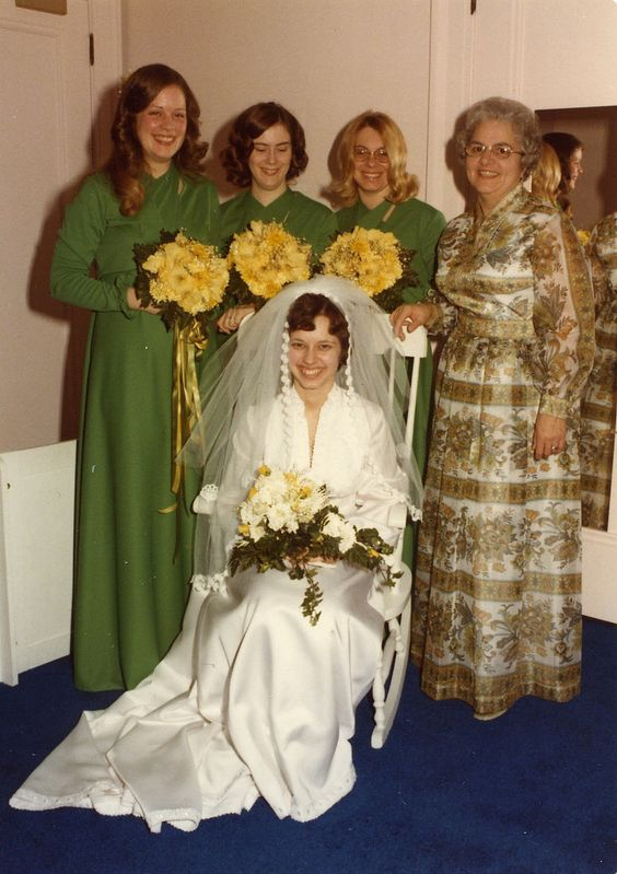 the bride with her bridesmaids and mother - Cheryl, Nancy, Sandra: