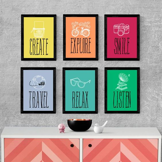 Kit de Quadros Decorativos Create Explore Smile Travel Relax Listen:
