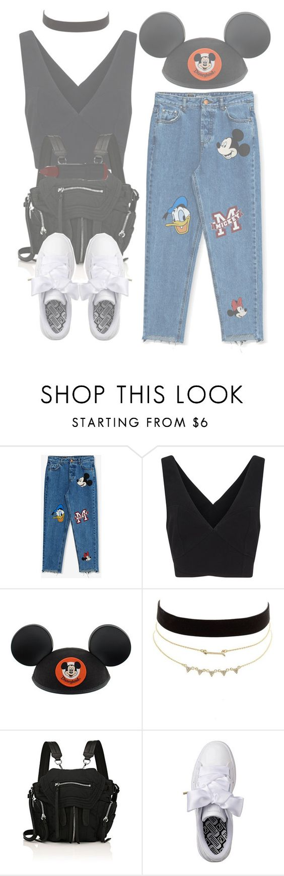 """are we there yet?"" by aurorasrose ❤ liked on Polyvore featuring Pull&Bear, Cinq à Sept, Disney, Charlotte Russe, Alexander Wang, Puma and NYX"