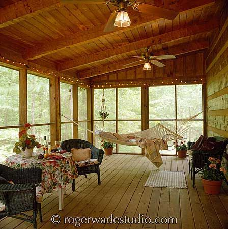 Log home pictures porches hammocks and log homes for Log cabin sunrooms