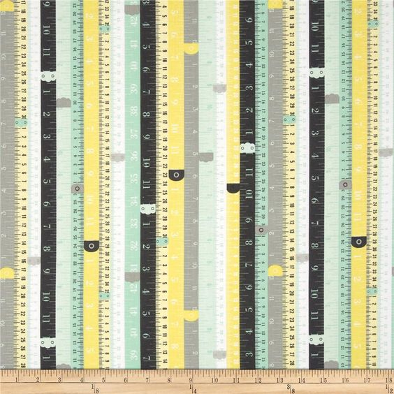 Riley Blake Sew Charming Rulers Mint from @fabricdotcom  Designed by Bo Bunny for Riley Blake, this cotton print is perfect for quilting, apparel and home decor accents. Colors include white and shades of mint green, yellow and grey.