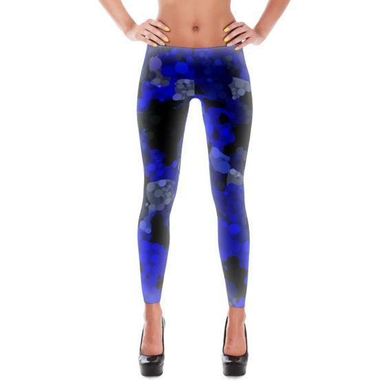 Bright Blue Black Polka-dot Abstract Leggings
