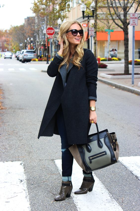 Gray Blanket Coat + Celine Bag
