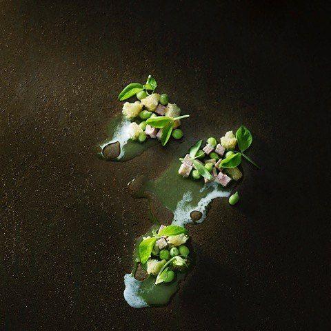 Interpretation of the traditional wienerschnitzel  Tongue, anchovy, peas and horseradish cream ❤#Kokkeriet #Danish #restaurant #Copenhagen #monday #interpretation #cookbook #December @theartofplating @gastronogram @feedfeed @foodstarz_official @friedasproduce @cookniche @truecooks @chefsroll @chefstalk