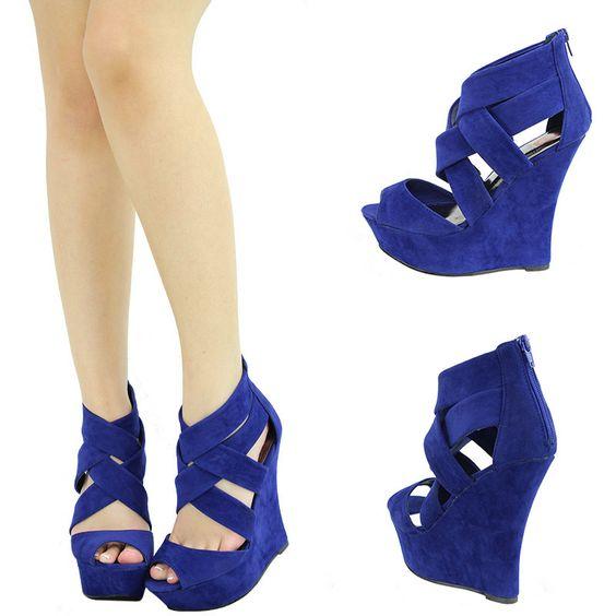 Royal blue peep toe strappy high heel platform wedge bootie pump
