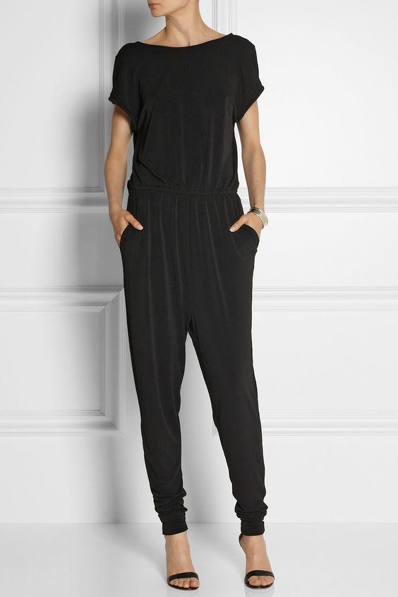 By Malene Birger Liggaso stretch-jersey jumpsuit | Mostly Black ...