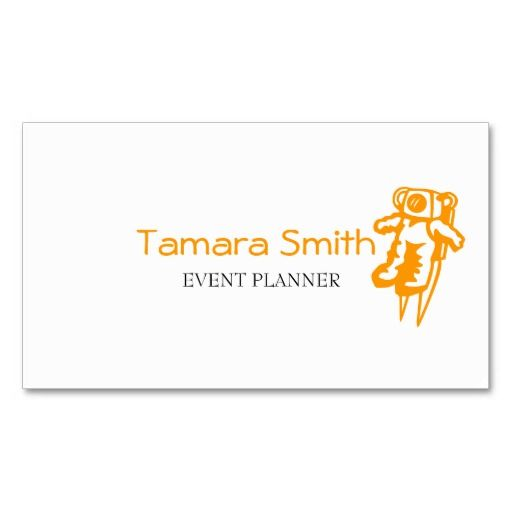 Spaceman, Orange, Black And White Event Planner Business Card - event card template