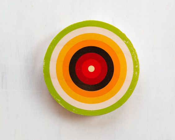 Green, Orange, Black, Red Bull's Eye