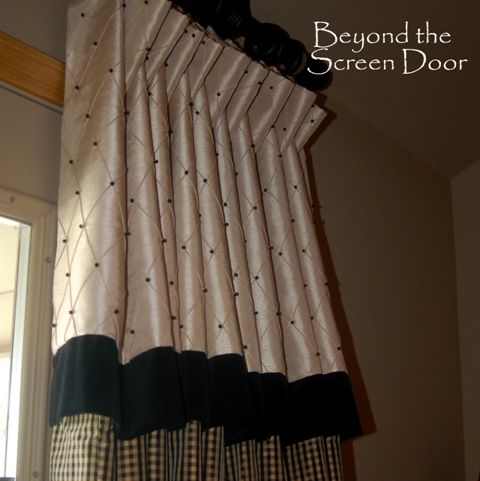 Black Dotted Cream Valance With Banded Velvet Detail A