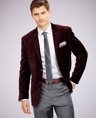 Alfani RED Slim-Fit Velvet Sport Coat - Men - Macy's | Men Outfits