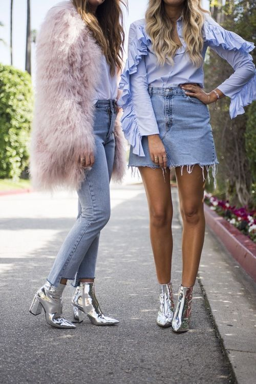 Jeans and metallic ankle boots? SO cute!