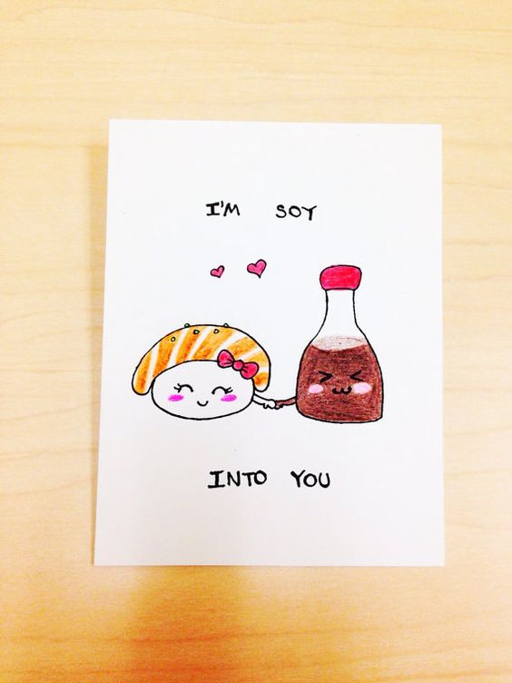 Funny love Card, i'm soy into you, sushi and soy sauce pun card, foodie card, funny anniversary card cute pun by LoveNCreativity: