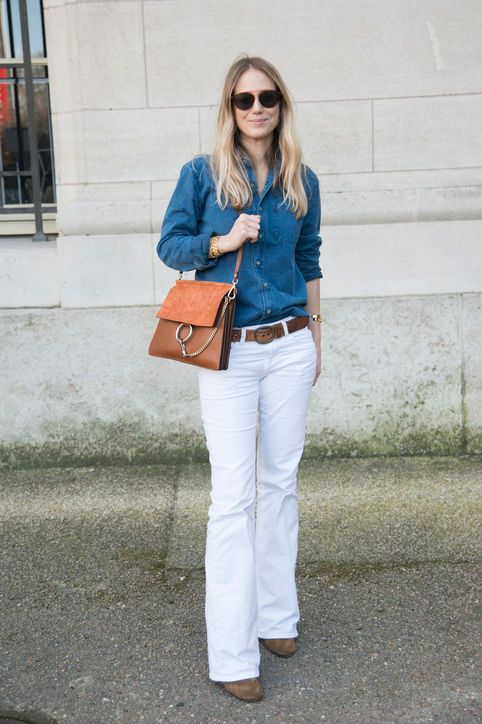 Fall Denim Outfit Ideas  Chambray Shirt + White Denim Flares + Neutral Accessories